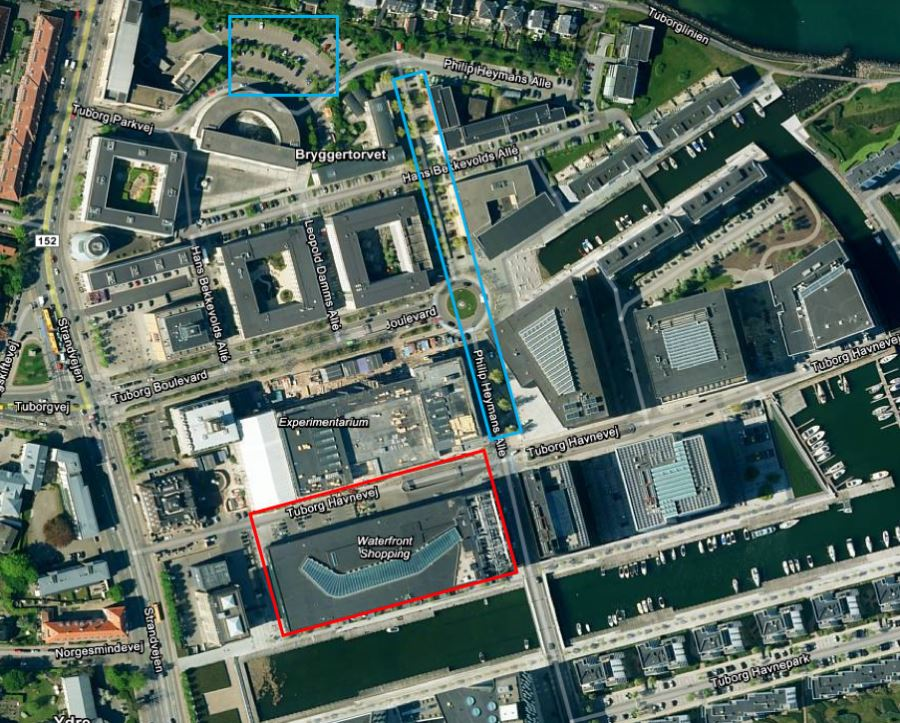 Map (top view) from the area around Experimentarium, marking the free parking spaces and the Waterfront Shopping Centre parking