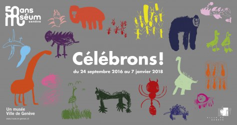 Geneva Natural History Museum - poster celebrating 50 year anniversary on current site, designed by children