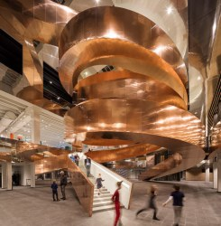 The new Experimentarium's iconic copper helix staircase. Picture: Adam Mørk