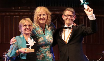 2016 Mariano Gago Ecsite Awards winners Tekniska Museet with Jury Chair Sharon Ament