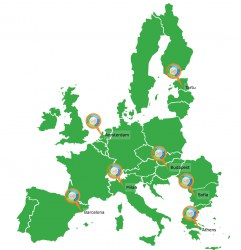 European Union map showing locations of FIT4FOOD2030 City Labs