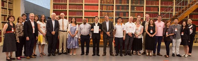 Science centre network representatives at the signature of the Tokyo Protocol in June 2017 (in Porto, Portugal)