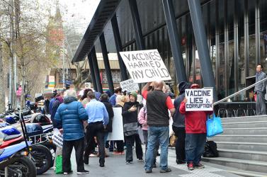 Anti-vaxxer protest in Melbourne, Australia, 14 September 2017. Pic by Alpha.