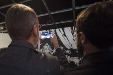 Testing an augmented reality app in the Valerian and Laureline exhibition as part of the 2017 Ecsite Directors Forum, Cite des sciences et de l'industrie, Paris, France, 4 October. © V Viennet EPPDCSI