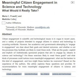 Meaningful Citizen Engagement in Science and Technology What Would it Really Take?