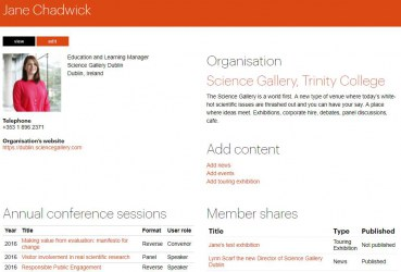 User profile on the Ecsite website (member staff)