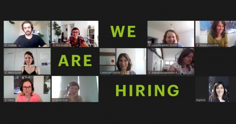 Ecsite's team on a Zoom meeting with the text 'We are hiring'
