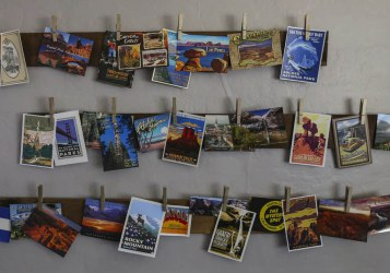 Postcards on a wall