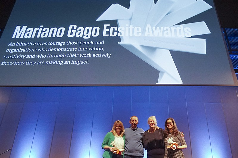 Mariano Gago Ecsite Awards 2018 winners at the 2018 Ecsite Conference, Geneva, Switzerland © Ecsite / Natural History Museum of Geneva / Olivier Miche or Philippe Wagneur