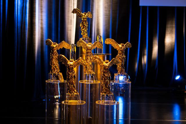 Photo showing the Golden Nicas that presented during the award ceremony of the Ars Electronica Gala 2013. Credit: Tom Mesic