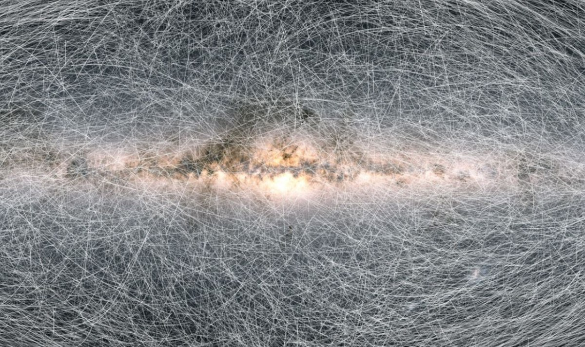 Trails showing how 40,000 stars in the Galaxy will move across the sky in the next 400,000 years. Credit: ESA/Gaia/DPAC (CC BY-SA 3.0 IGO)