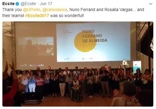 Tweet thanking the wonderful #Ecsite2017 host teams