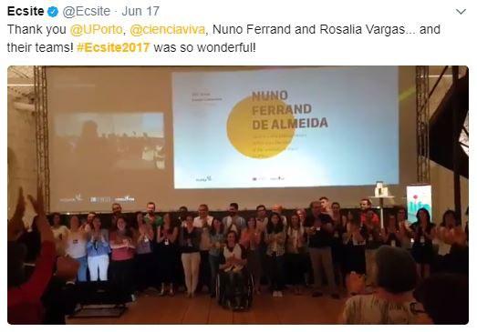 Tweet thanking the wonderful #Ecsite2017 host teams