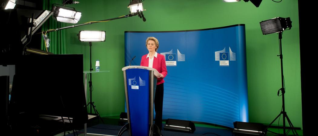 EU commission president Ursula von der Leyen during a video conference with EU leaders on response to the coronavirus outbreak. Photo: European Commission