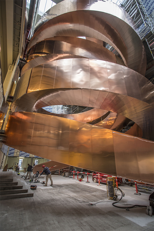 The new Experimentarium's iconic copper helix staircase
