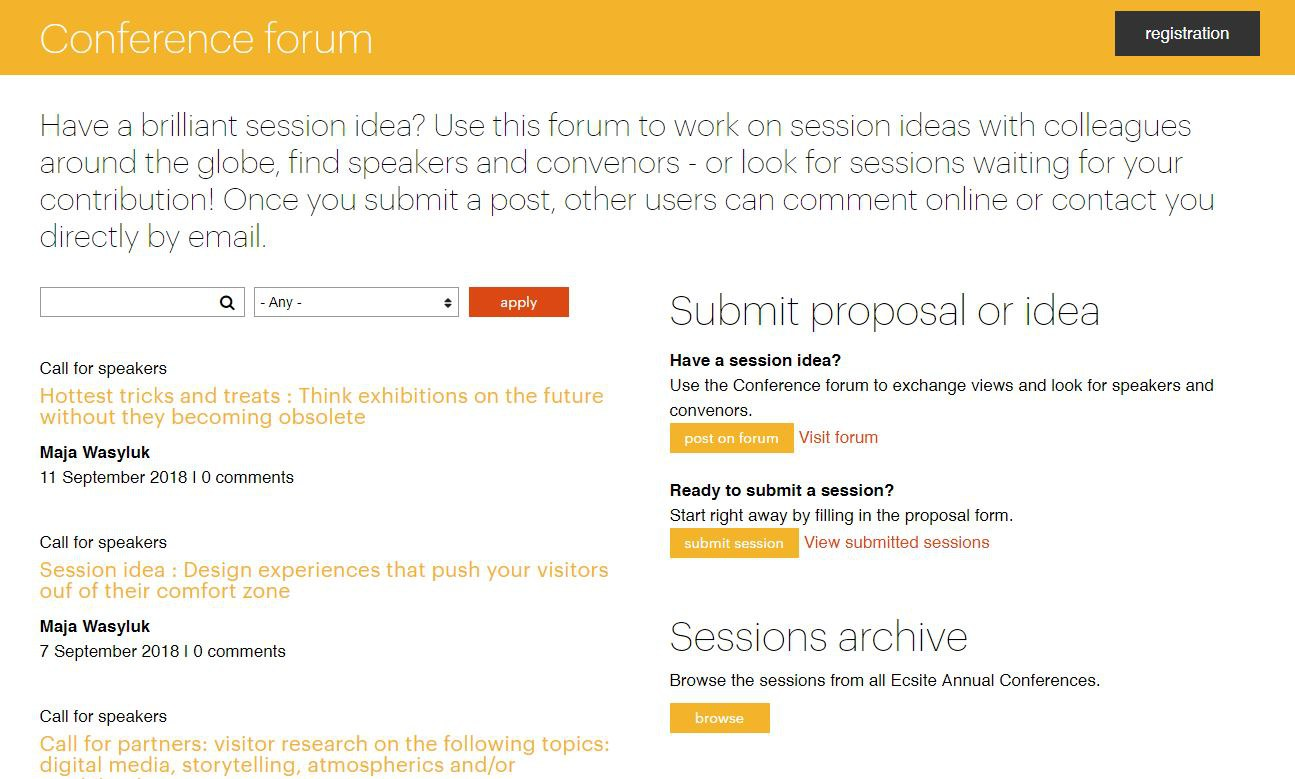 #Ecsite2019 conference forum screenshot