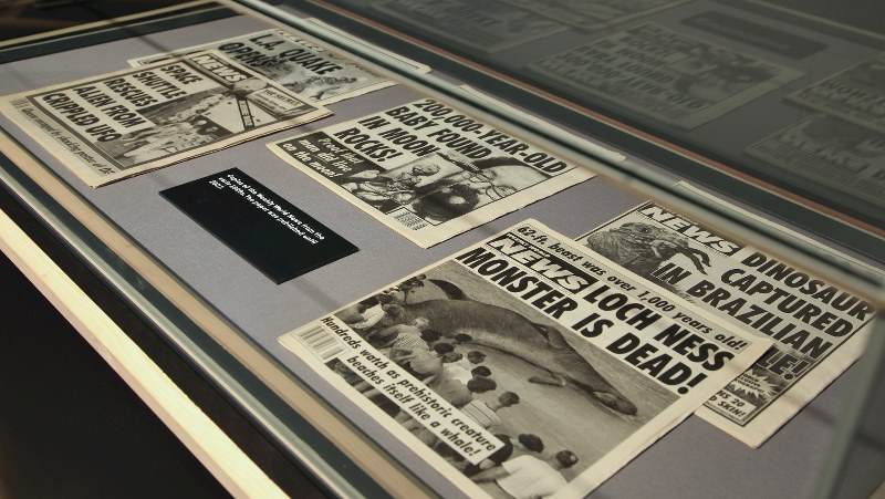 Copies of the Weekly World News from early 1990s, on display in the «Fake news: the lies behind the truth» exhibition at the National Science and Media Museum, Bradford, UK. Credit: National Science and Media Museum