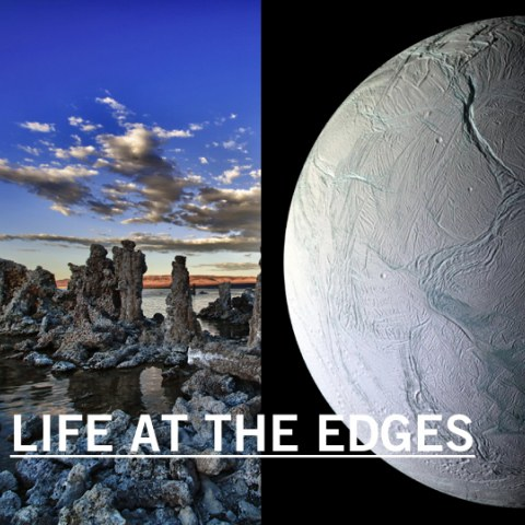 Left image: Tufa Towers at Mono Lake, CA by Eric Wienke, used under Creative Commons license: https://flic.kr/p/f6bs34 Right image: Enceladus courtesy NASA/JPL