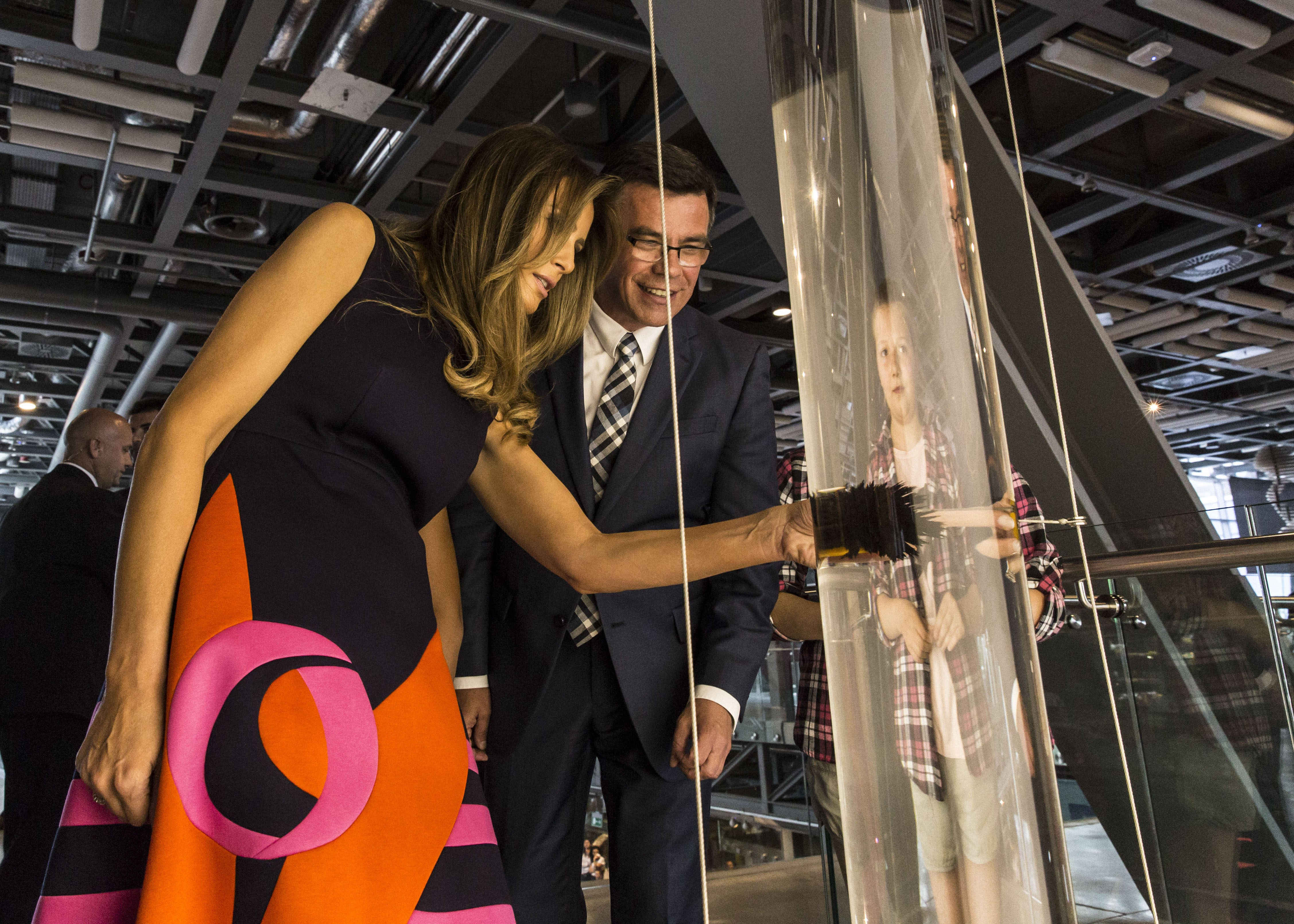 Melania Trump at the Copernicus Science Centre with Director Robert Firmhofer, 6 July 2017. Credit A. Steifer