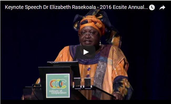 Watch Dr Rasekoala's #Ecsite2016 keynote on the Ecsite YouTube channel