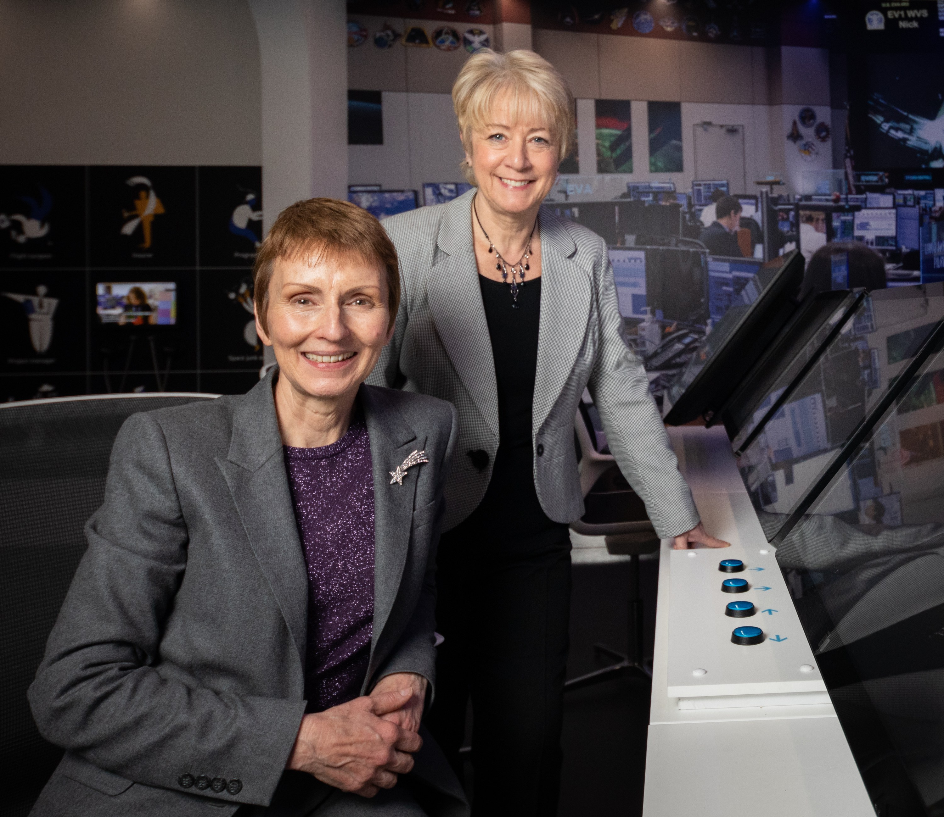 Britain's first astronaut Helen Sharman (left) and Linda Conlon (right) in Mission Control in Life Science Centre's new Space Zone. Image credit: Life Science Centre