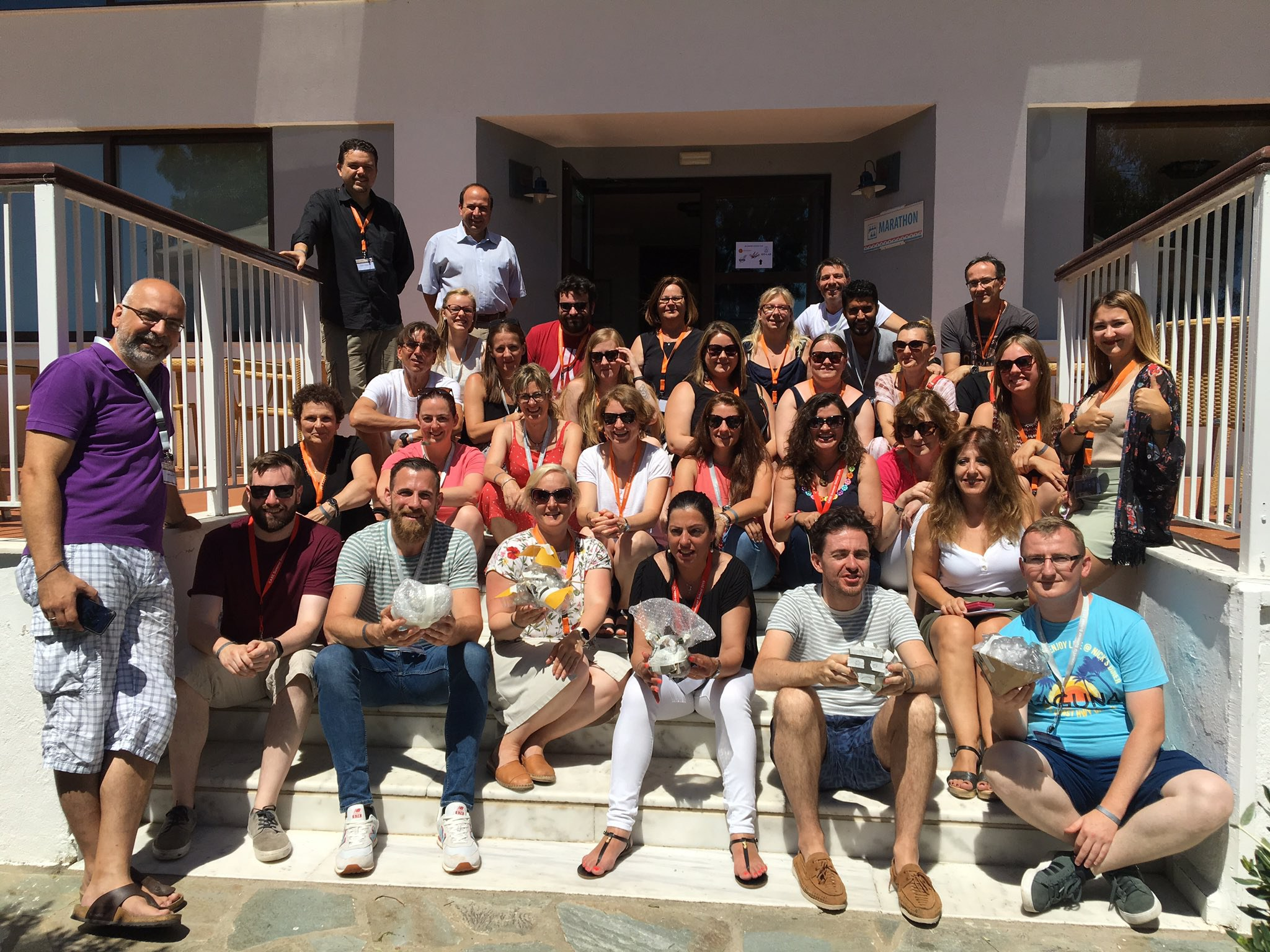 "Teachers and trainers at the ""Space exploration in education"" spaceEU Summer School pose for a group picture in Marathon, Greece."