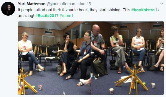 Tweet by Yuri Matteman during the Bookbistro session at #Ecsite2017