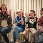 Visitors at Play of Signs at Dialogue in Silence, Hamburg, Germany