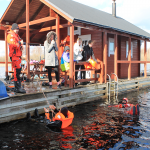 Participants at the science-themed Sea Change youth science camp organised by AHHAA learn rescue skills from the Estonian Maritime Rescue Organisation in the icy waters of Lake Peipus (Estonia), 24 April 2017