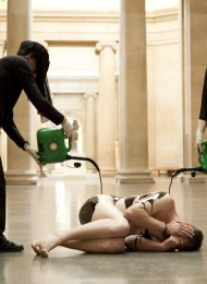 Liberate Tate stages a protest at Tate Britain (2011). The group aimed to end the Tate's corporate sponsorship with British Petroleum. Tate and BP have since parted.
