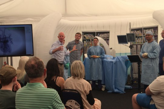 Cheltenham Science Festival 2014: A member of the public experiences how it is to be a patient undertaking a (simulated) cardiac procedure, an angioplasty; a discussion about his experience involves the clinical professionals present and the public.