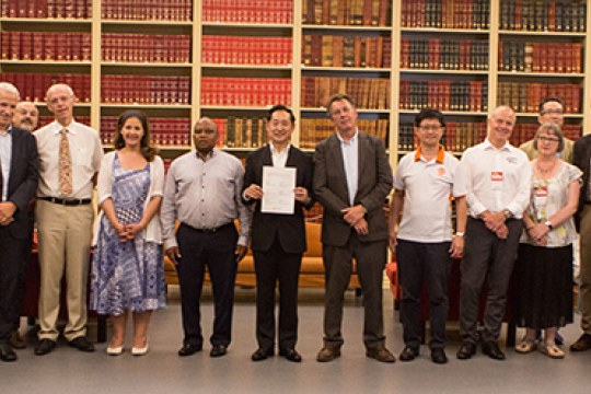 Science centre network representatives at the signature of the Tokyo Protocol in June 2017 (in Porto, Portugal)