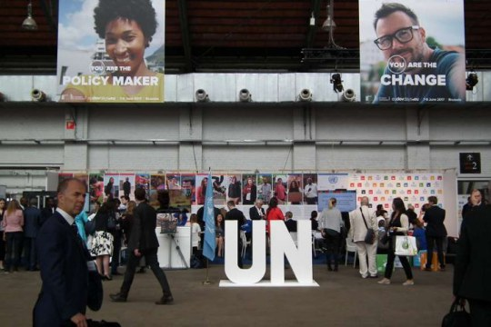 UN stand / UNRIC at European Development Days, 6-8 June 2017, Brussels. 'You are the policy maker' says the campaign banner, reflecting the Sustainable Development Goals' bottom-up approach.