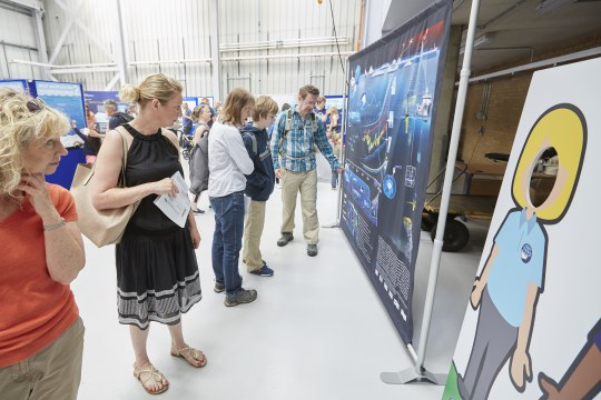 "The ""500 years of Ocean change"" infographic on display at the National Oceanography Centre in Southampton, 3 June 2017. Photo courtesy of the National Oceanography Centre."