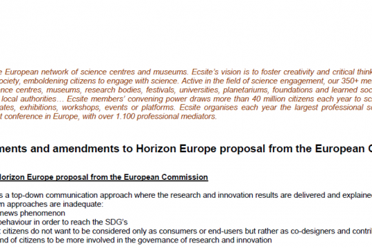 Ecsite amendments to Horizon Europe