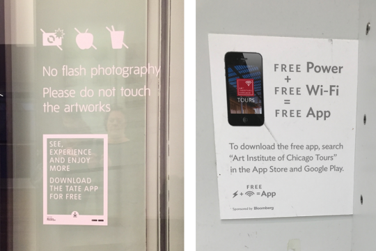 Examples of different styles of app signage
