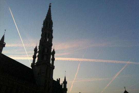 "Airplane condensation trails in the Brussels sky - which ""chemtrail"" conspiracy theorists claim to be chemical substances governments spray to keep populations subdued. Photo Antonio Gomes da Costa"