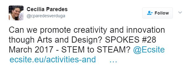 STEM to STEAM travelling on twitter